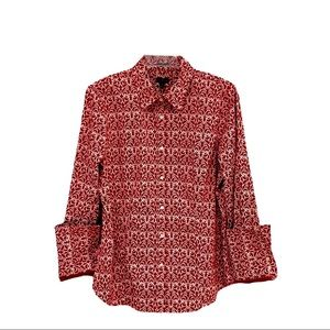 Talbots Red Lattice Print Button Up Stretch Top